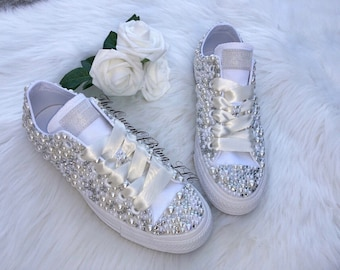4e41cd3b2fb Wedding converse with ivory