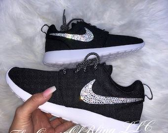 ab2843b1e41ea4 BLACK nike roshe run bling