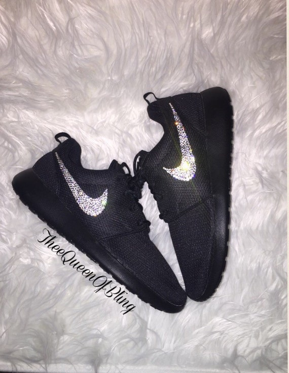 3eeb335798db5 Black Nike Roshe Run with bling roshe run bling womens nikes