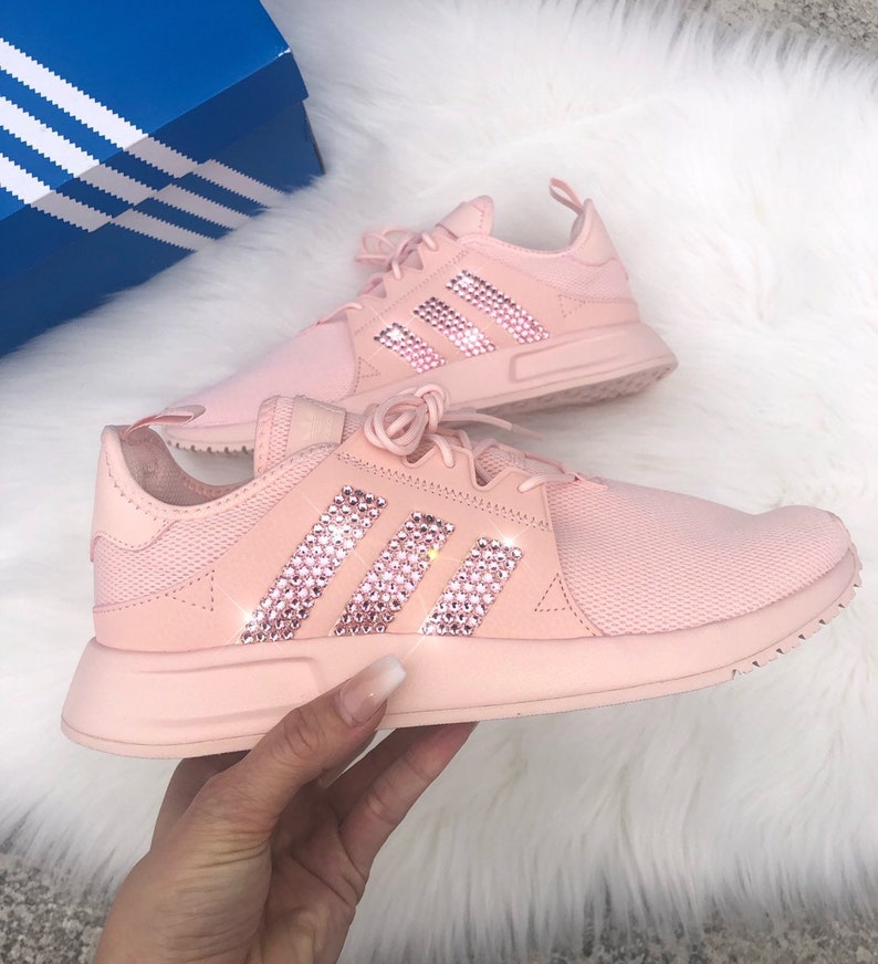 GirlsWomens pink adidas originals XPLR casual shoes with swarvoski crystals