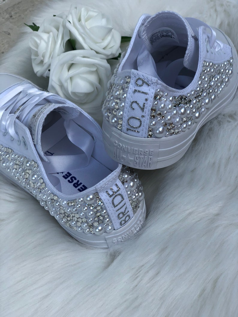 promo code f8377 64698 Wedding Converse Bling converse Pearl converse Bride   Etsy