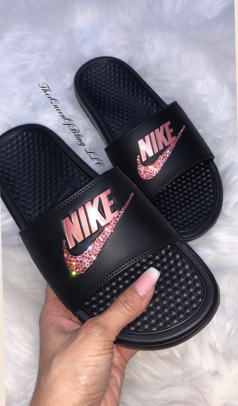 new product 7f3a9 66373 Nike Benassi Slides crystalized nike slides swarvoski nike   Etsy