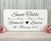 Personalised Sweet Table Wedding Sign Free Standing Vintage Shabby Chic White Wooden 02
