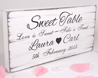 40aee7a5c Personalised Sweet Table - Custom Free Standing White Vintage Wedding Table  Sign   Plaque - Shabby but Chic -Aged - Handmade