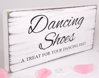 b8b3730b579800 Free Standing White Wedding Table Sign   Plaque - Flip Flops - Dancing  Shoes 02 - Vintage - Shabby but Chic - Aged - Handmade