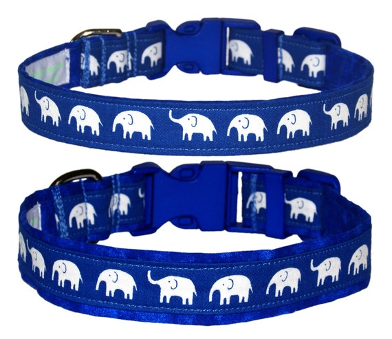 Large Adjusts 14 to 21 100/% Cotton Zoo Navy Blue /& Aqua Elephants Dog Collar Safari