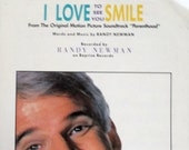 I Love To See You Smile 1989 vintage sheet music Steve Martin cover photo Words Music by Randy Newman quot Parenthood quot Guitar Tablature