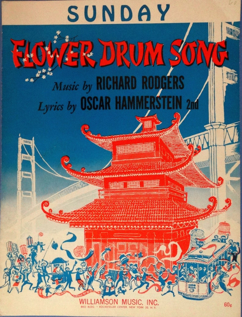 Sunday vintage sheet music from Flower Drum Song by Rodgers & Hammerstein  1958, ukulele/mandolin chords included, near mint