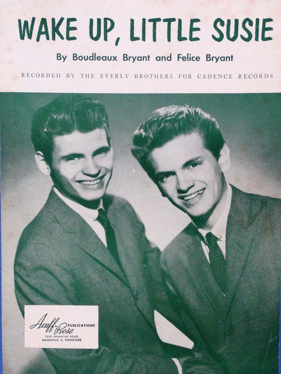 Wake Up Little Susie Everly Brothers Cover Photo Vintage