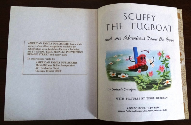 Scuffy the Tugboat, by Gertrude Crampton, Little Golden Book, with pictures  by Tibor Gergely, 1946/55/74