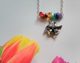 Rainbow Pinwheel Necklace - Natural Gemstone Rainbow with Tibetan Silver Pinwheel - Gemstone - Summer - Childhood - Windmill