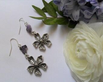 Amethyst Flower Earrings - Purple Amethyst Gemstone with Pretty Tibetan Silver Flower Charms - Spring - Ostara - February Birthstone