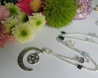 Five Elements Witches Ladder Necklace - Tibetan Silver Moon & Pentacles with Mixed Gemstone Chips - Pagan Jewelry - Elemental