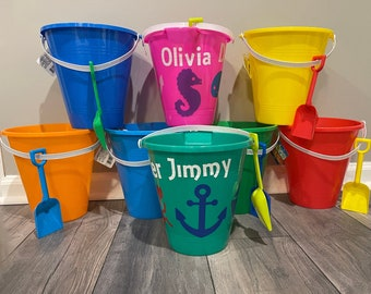 kid sand pails Kid favor bags birthday party favors 50 pieces 3rd birthday favors beach favors 32oz sand bucket