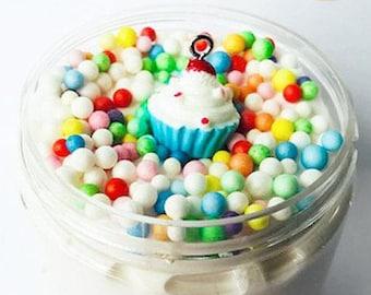 Birthday Cake Butter Slime W/Daiso Cupcake charm Popular Vanilla birthday cake scented slime Birthday gifts/party favor BlissBalm slime shop