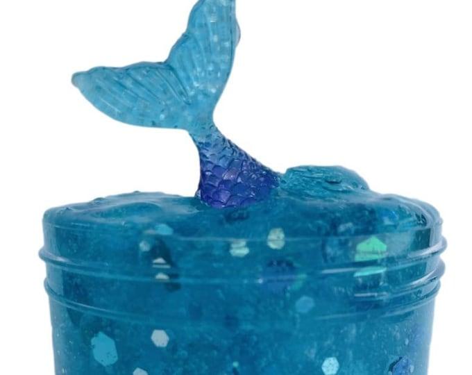 Mermaid Tail Glitter slime w/Mermaid charm Popular, Clear slime, Little mermaid party favors Cheap slime BlissBalm slime shop Turquoise Blue