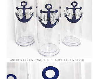 bridal set, personalized cups, bridal shower gift, wedding gift, wedding favors, destination wedding, Anchor cups