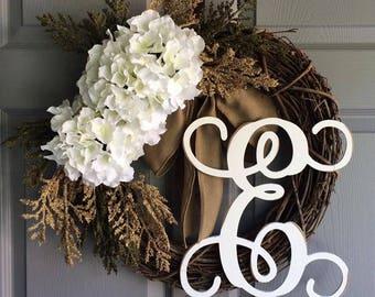 Spring Wreath - Monogram Wreath - Everyday Wreath - Front Door Wreath - Wreath for Front Door - Door Wreath - Initial Wreath - Door Decor