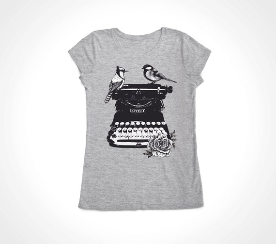 Women's Birds on a Vintage Typewriter Tee Shirt