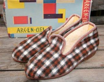 Vintage Kids Slippers 1940/vintage children's slippers 40th