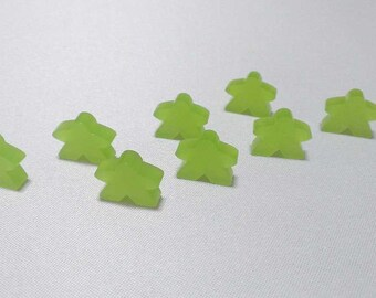 Meeples, 8-pack, Translucent Frost Lime Green