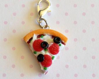 Pizza Charm, Pizza Jewelry, Pizza Necklace, Stitch Marker, Progress Keeper, Planner Charm, Pizza Gift, Miniature Food Charm, Food Jewelry
