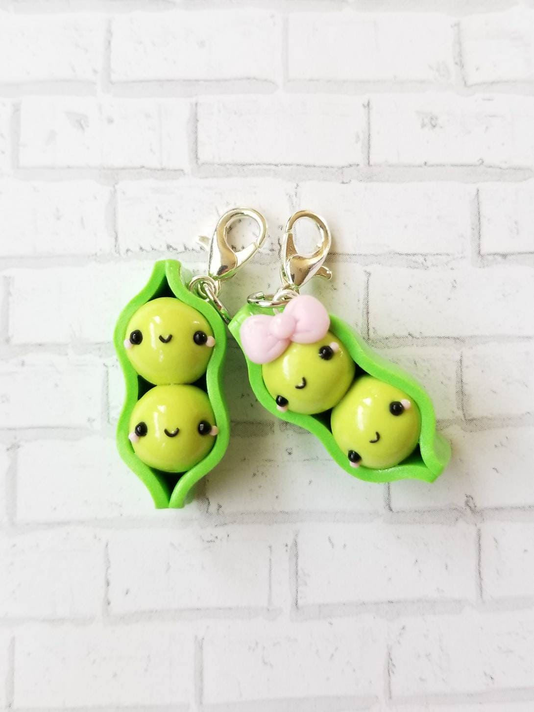 Two Peas In A Pod Kawaii Charm Polymer Clay Charm Stitch