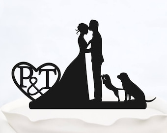CUSTOM CAKE TOPPER with Initials_Wedding Cake topper with heart_cake topper with two dogs_Personalized cake topper_Silhouette Bride & Groom