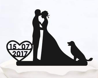 CUSTOM CAKE TOPPER with date_Wedding Cake topper with heart_cake topper dog_Personalized cake topper_Silhouette Bride & Groom