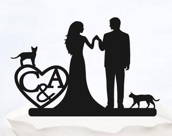 CUSTOM CAKE TOPPER with Initials_Wedding Cake topper with heart_cake topper cats_Personalized cake topper_Silhouette Bride & Groom