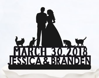 Written CAKE TOPPER with four cats_Wedding Cake Topper with Names and date_Modern custom cake topper_silhouette cake topper made in italy