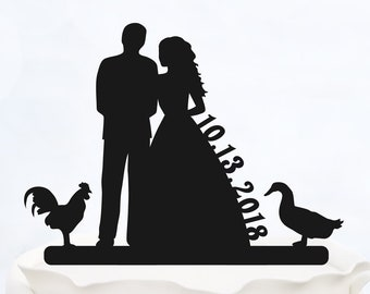 CUSTOM CAKE TOPPER with date_Wedding Cake topper with duck and chicken_Personalized cake topper_Silhouette Bride & Groom