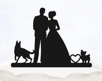 Bride And Groom Cake Topper With two Dogs_Wedding Cake Topper_Couple Silhouette__Custom Cake Topper_heart Cake Topper_rustic cake topper