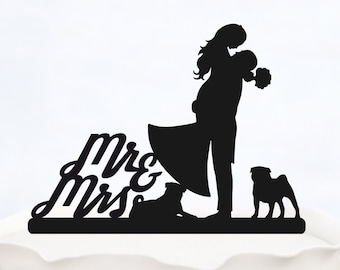 Wedding Cake Topper Mr & Mrs with two dogs_Couple Silhouette_Bride And Groom_bridal show topper_Custom Cake Topper_customized Cake Topper