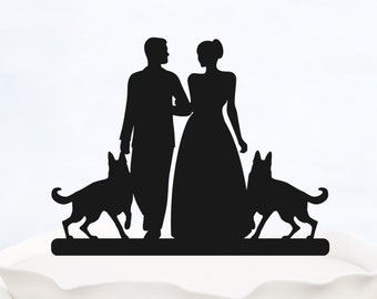 Wedding Cake Topper With two Dogs_Bride And Groom Couple Silhouette__Custom Cake Topper_customized cake topper_elegant cake topper