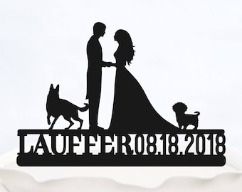 Surname Cake Topper/_Bride /& Groom with last name/_Custom wedding Cake Topper silhouette with Surname/_Cake Topper with two dogs/_Custom Topper