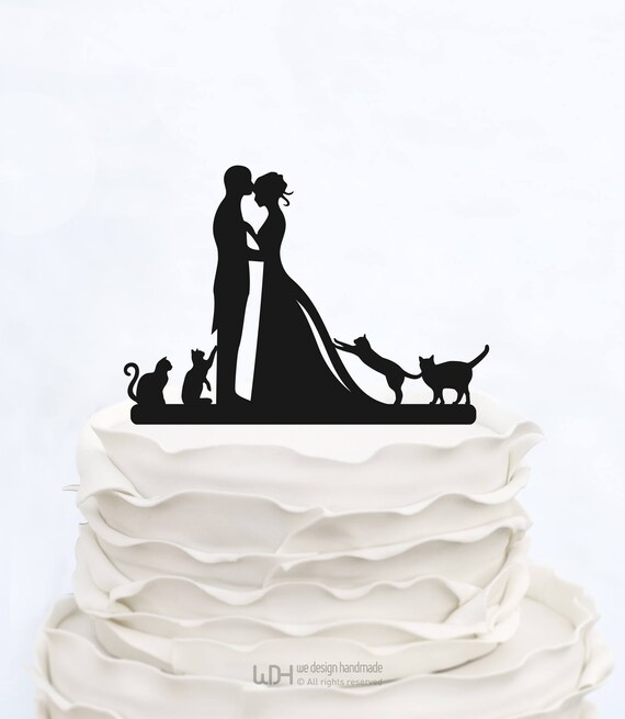 wedding cake topper with four cats wedding cake topper with four cats bride and groom 26662