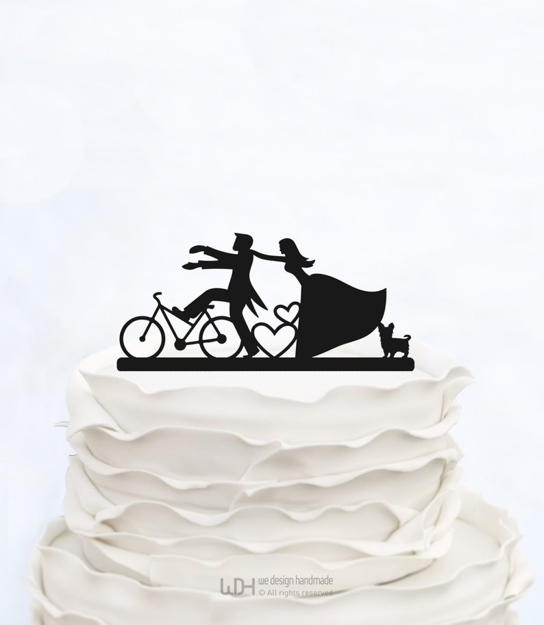 Bride And Groom On Bicycle Silhouette_Custom Cake Topper with image 0