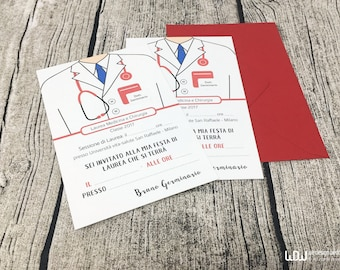 10 Graduation party invitation_Graduation Announcement_Medicine theme_Doctor graduation party_Nurse party invitation_Handmade in Italy