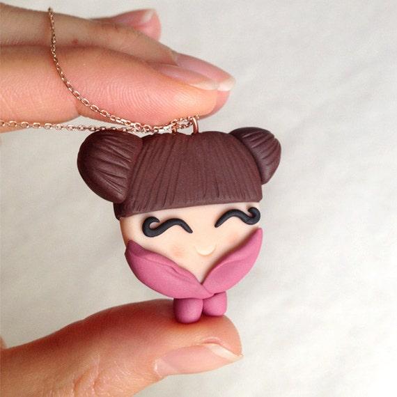 Japanische Puppe Kette Polymer Clay Japanisch Minimio Kette Handarbeit Unikat Geschenk Figur