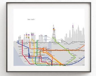 1963 Ny Subway Map Etsy