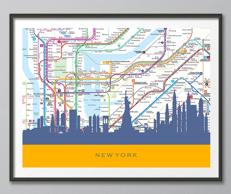 City Subway Map Art.New York Skyline New York Map Art New York Skyline Art City Subway Map Skyline Print Transportation Art Print Home Decor Wall Art