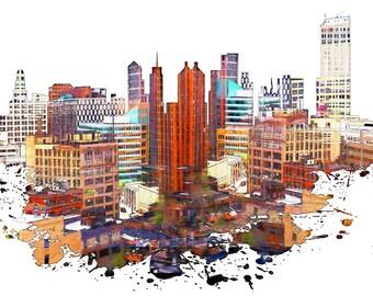 Detroit, Detroit Skyline, Michigan, USA Skyline, Urban Silhouette, Cityscape, Art Print, Poster, Modern Art, Painting, Watercolor, Urban Art
