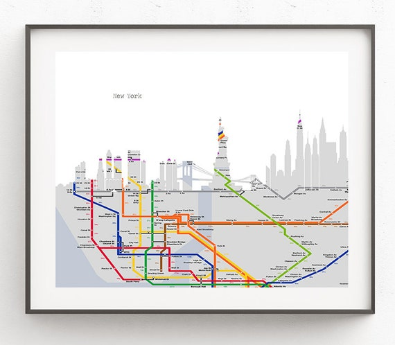 New York Subway Map Art.New York Skyline New York Map Art New York Skyline Art City Etsy