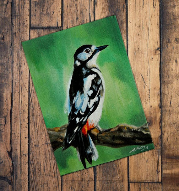 Great Spotted Woodpecker Original Oil Painting Bird   Etsy