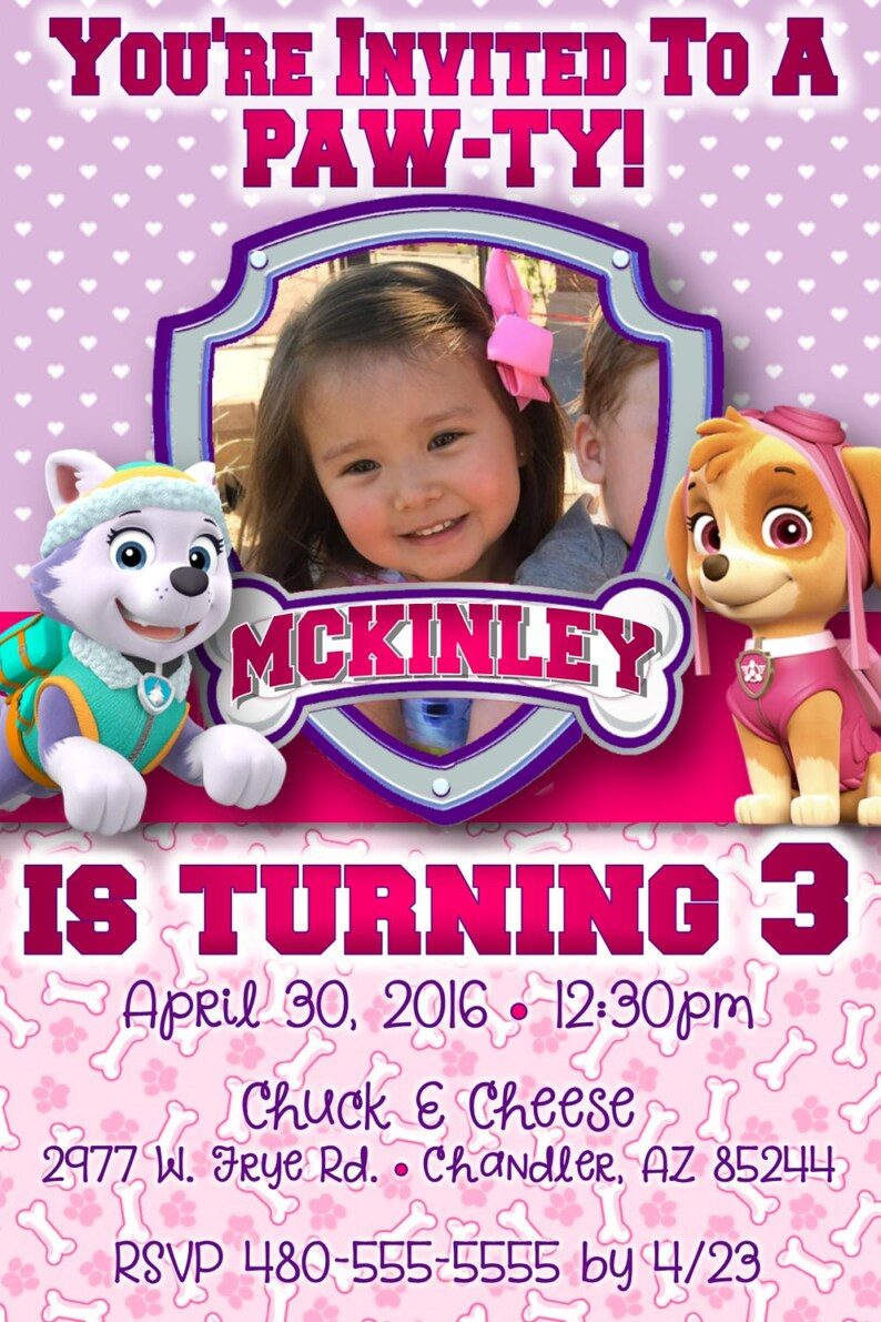 Customizable Paw Patrol Birthday Party Invitation Everest And
