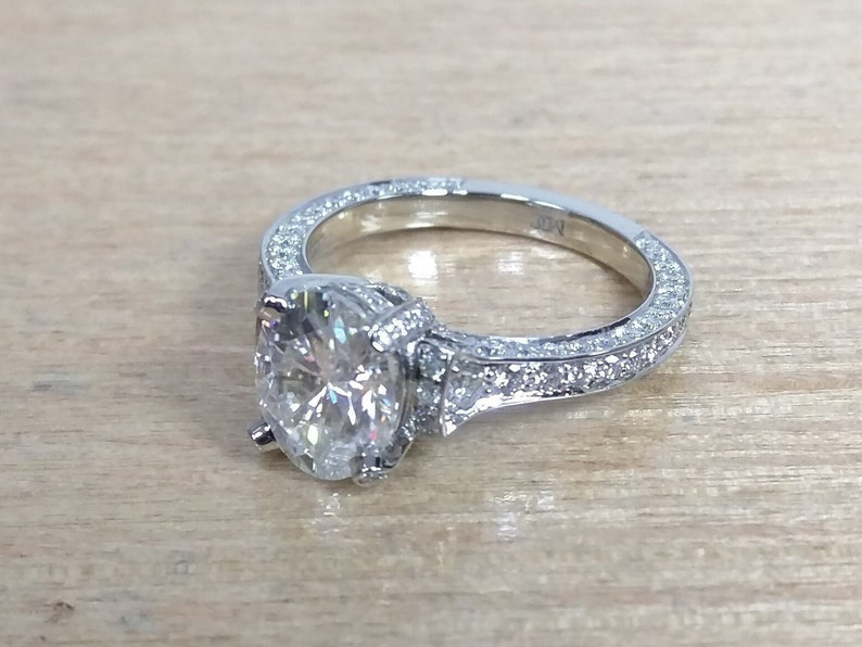 Unique Graduated Diamond Cathedral Engagement Ring 14k White Gold
