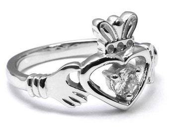 Claddagh Diamond Solitaire Promise Ring, Heart with Crown Celtic