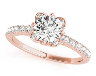Forever Brilliant Moissanite Lab Created Diamond in a Floral Cathedral Petite Diamond Engagement Ring in Rose Gold