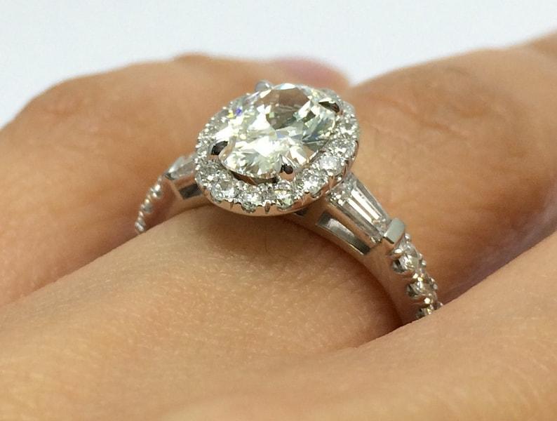 eaea95e8f0471 Forever One Moissanite Oval Halo Engagement Ring Baguette Side Stones 14K  White Gold